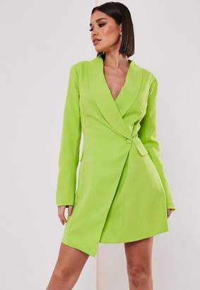 Missguided Tall Lime Asymmetric Blazer Dress
