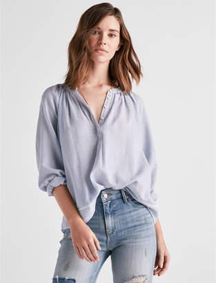 Lucky Brand Long Sleeve Mini Stripe Peasant Top