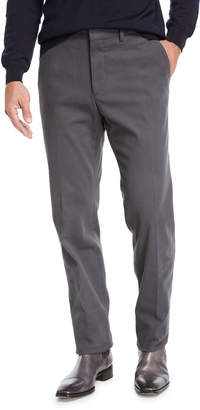 Ermenegildo Zegna Men's Suede-Trim Chino Pants