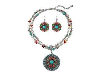 M&F Western Multi Stone Concho Necklace/Earrings Set