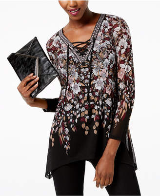 INC International Concepts I.n.c. Petite Printed Lace-Up Tunic, Created for Macy's