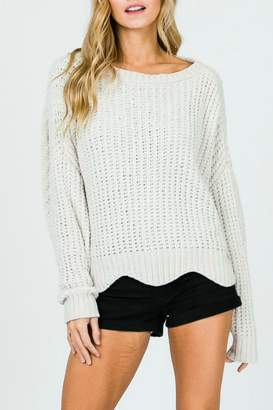 Pretty Little Things Scalloped Chenille Sweater