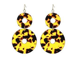 Kenneth Jay Lane 3 Tortoise Double Circle Fishhook Earrings