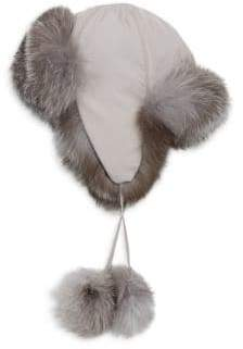 Saks Fifth Avenue Collection COLLECTION Fox Fur-Lined Pom Pom Trapper Hat