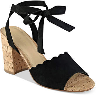 Marc Fisher Piya Lace-Up Cork Block-Heel Sandals $89 thestylecure.com
