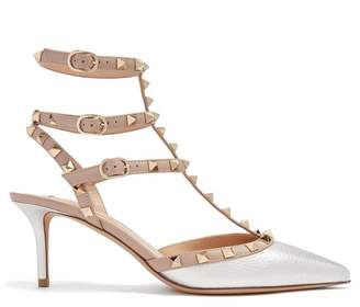Valentino Rockstud Leather Pumps - Womens - Silver