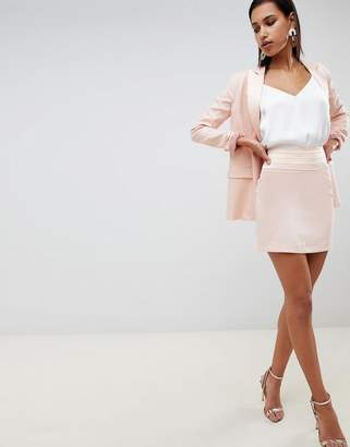 Asos Design Tailored Mini Skirt With Contrast Satin Band Co Ord