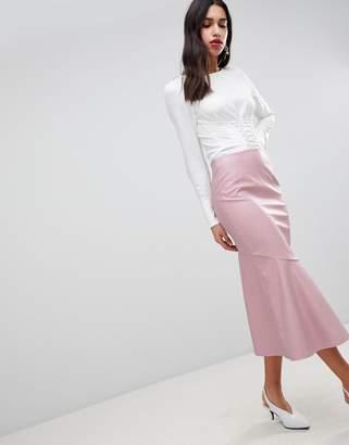 Asos DESIGN Leather look midi skirt with kickflare