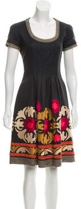 Oscar de la Renta Embroidered Wool Dress