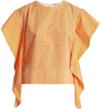 Fendi Logo-print striped cotton-poplin top
