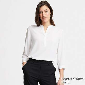 Uniqlo Women's Rayon Stand Collar 3/4 Sleeve Blouse