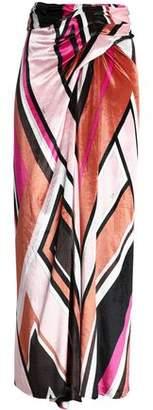 Emilio Pucci Draped Printed Velvet Maxi Skirt
