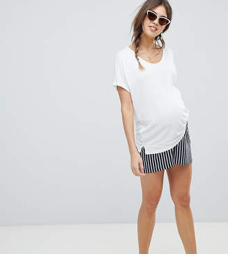 Asos DESIGN Maternity culotte shorts in easy stripe