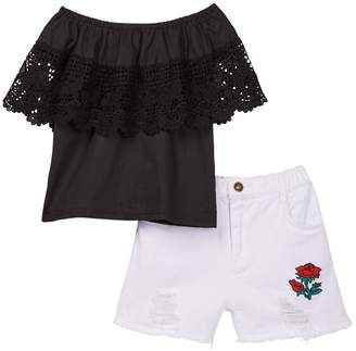 Funkyberry Off-the-Shoulder Top & Distressed Shorts 2-Piece Set (Toddler & Little Girls)