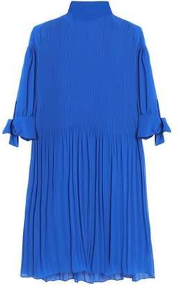 By Malene Birger Knotted Plissé-Chiffon Mini Dress