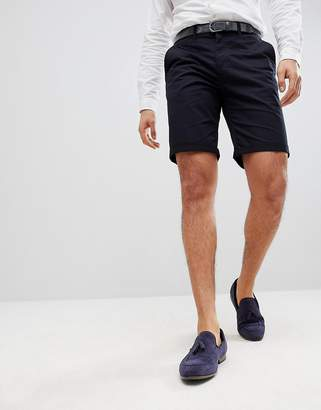 Solid Slim Fit Chino Short In Black