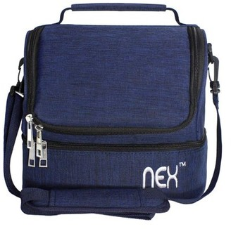 NEX Double Cooler Lunch Box- Insulated Tote with Large Capacity, Adjustable Shoulder Strap and Zipper Closure For Easy Access and Travel- Blue Color (NX-LUNCHBAG-1)