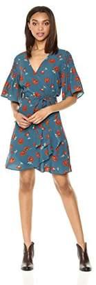 Ella Moon Women's Maeva Pintuck Shoulder Ruffle Sleeve Wrap Dress