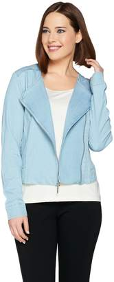 Halston H By H by Stretch Chambray Motorcycle Jacket