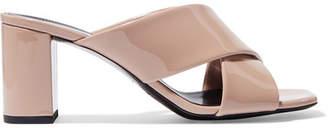 Saint Laurent Loulou Patent-leather Mules - Neutral
