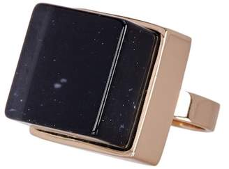 METAL AND STONE Square Black Crystal Ring - Size 7