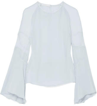 Antonio Berardi Silk-crepon Top - Sky blue