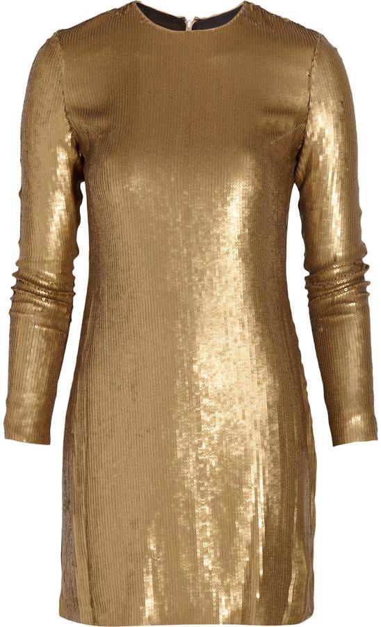 Diane von Furstenberg Pauletta metallic sequined silk dress