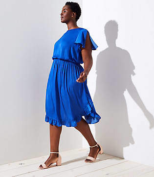 LOFT Plus Split Sleeve Satin Dress