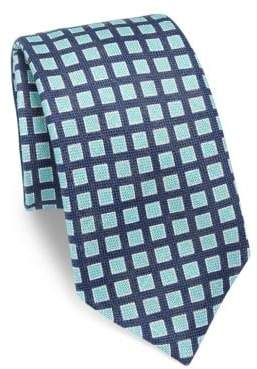 Kiton Square Patterned Silk Tie