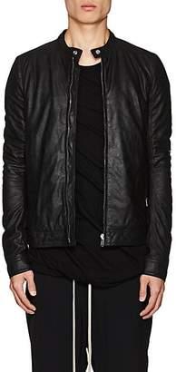 Rick Owens Men's Lou Blistered Leather Biker Jacket - Black
