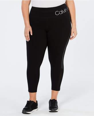 Calvin Klein Plus Size High-Rise Studded Stripe Ankle Leggings