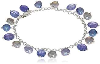 Tanzanite and Cultured Freshwater Pearl Station on Sterling Silver Chain Link Bracelet