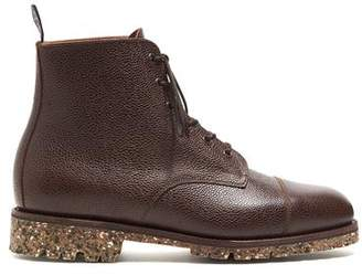 Sanders Lace Up Cap Toe Boot In Walnut Army Grain
