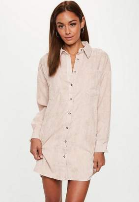 Missguided Nude Cord Shirt Dress