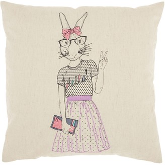 Mina Victory Trendy, Hip, & New Age Cute Peace Bunny Throw Pillow