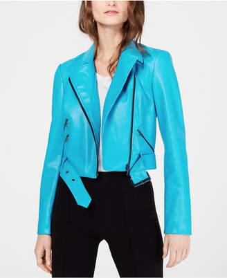 INC International Concepts I.n.c. Contrast-Zip Faux-Leather Moto Jacket