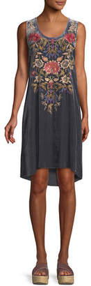 Johnny Was Simona Embroidered Velvet Tank Dress