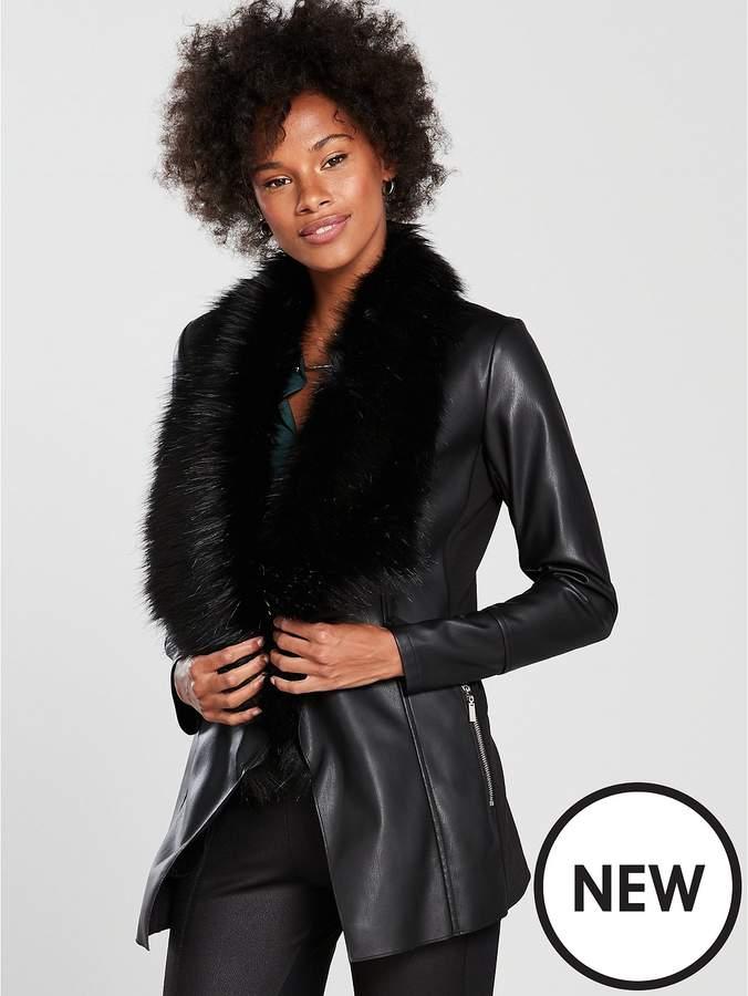 Faux Fur Collar Waterfall Jacket - Black