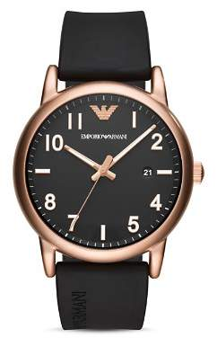 Emporio Armani Three Hand Black Rubber Watch, 43 mm