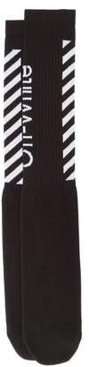 Off-White Off White Diagonal Stripe Cotton Blend Socks - Mens - Black