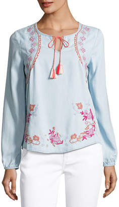 Neiman Marcus Embroidered Chambray Peasant Blouse, Medium Blue $79 thestylecure.com