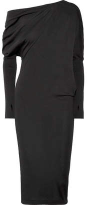 Tom Ford One-shoulder Cashmere And Silk-blend Dress - Black