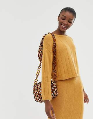 Asos DESIGN eco two-piece slash neck sweater with varied ribs