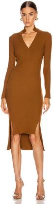 Enza Costa Rib Long Sleeve Step Hem Henley Dress in Cognac | FWRD