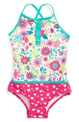 Toddler Girl's Hatley Wallpaper One-Piece Swimsuit $38 thestylecure.com