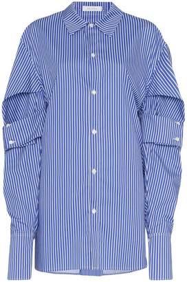 Delada striped double cuff sleeve shirt