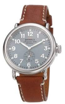 Shinola Runwell Stainless Steel& Leather Strap Watch