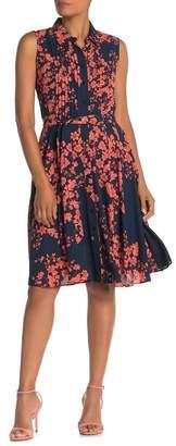 Nanette Lepore NANETTE Sleeveless Pleat Floral Knee-Length Dress