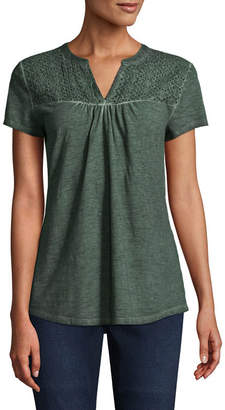 ST. JOHN'S BAY Short Sleeve Cap Sleeve Peasant Top