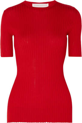 Victoria Beckham Ribbed Cashmere Top - Red